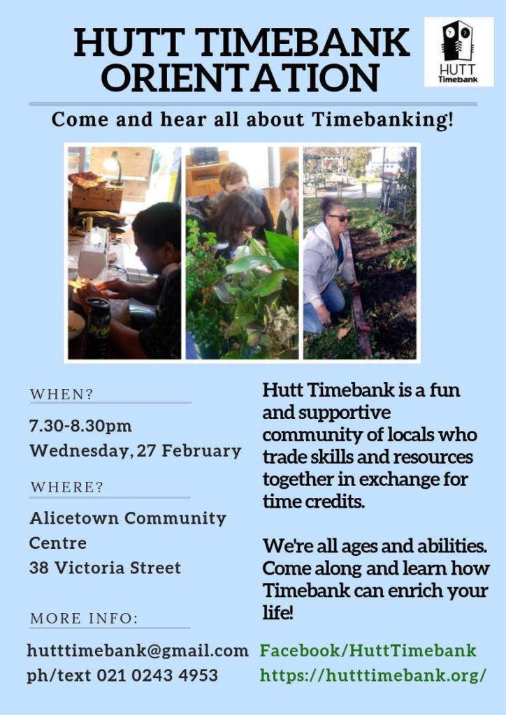 Feb 2019 Hutt Timebank Orientation Flyer